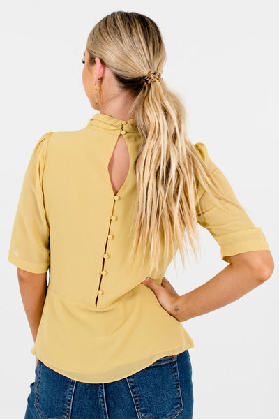 Women's Yellow Button-Up Back Boutique Blouse