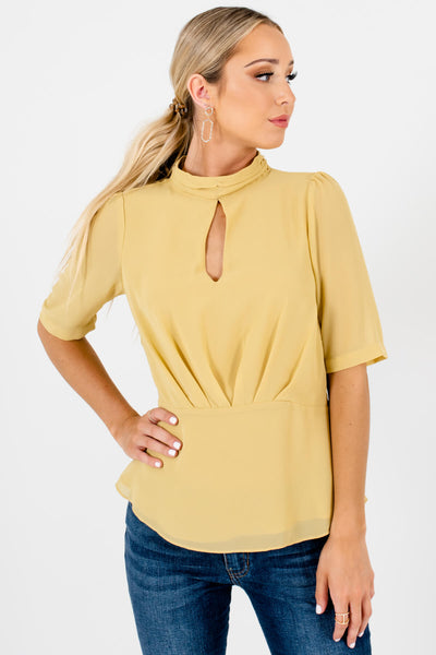 Yellow Neckline Cutout Detail Boutique Blouses for Women
