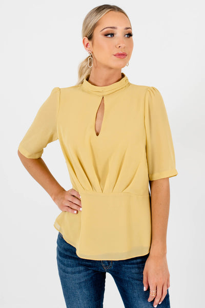 Yellow Keyhole Back Boutique Blouses for Women