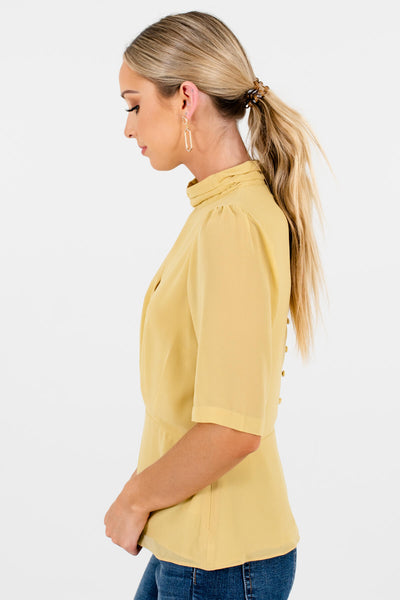 Women's Yellow Pleated Accented Boutique Blouse