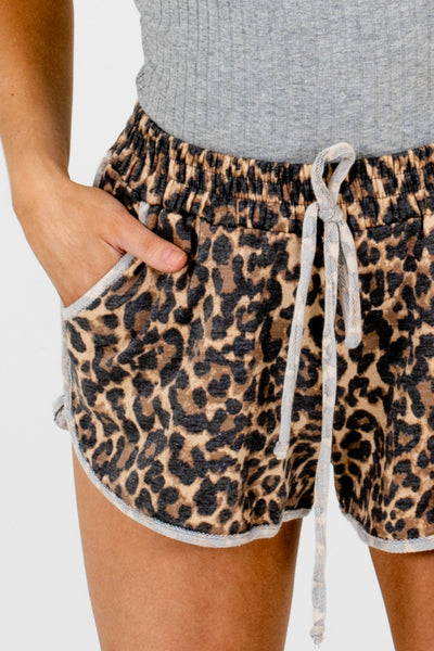 Brown Natural Faded Leopard Print Pattern Pajama Shorts
