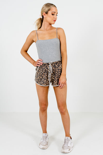 Brown Black Beige Leopard Print Short Sweatpants Sweatshorts