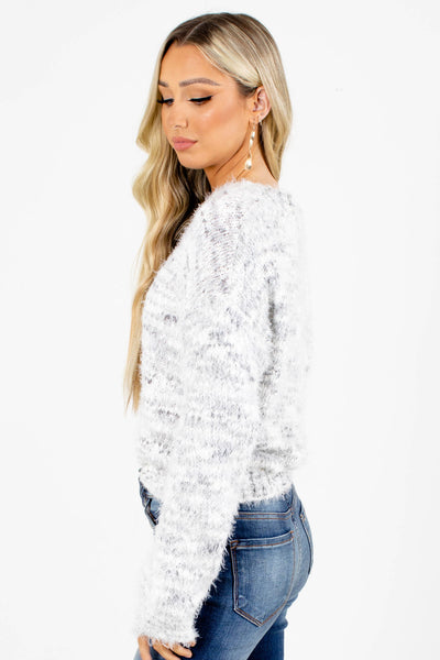 Marble White and Gray Sweater