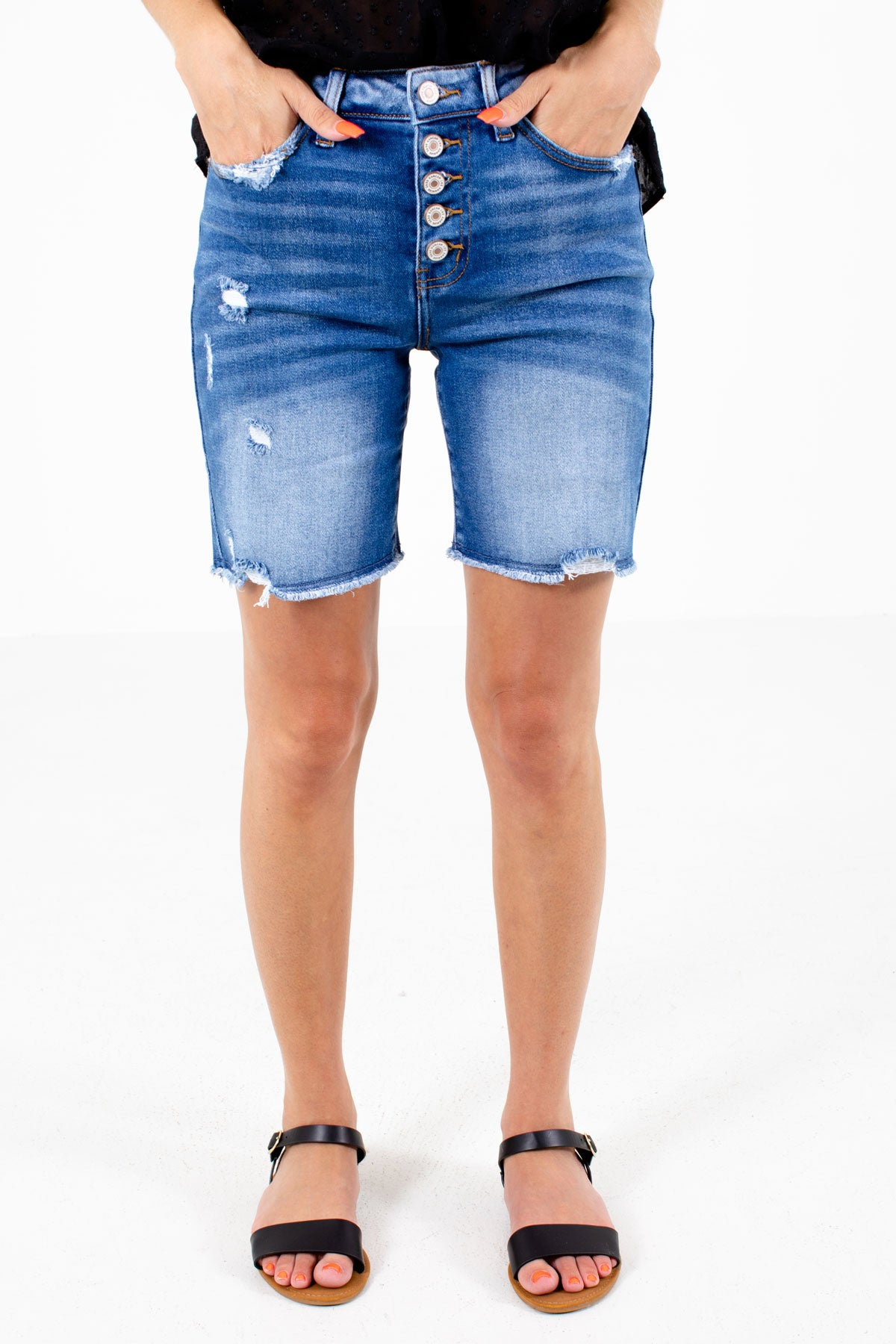 Blue Button-Up Front Boutique Shorts for Women