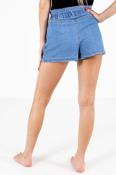 Women's Blue Button-up Front Boutique Shorts