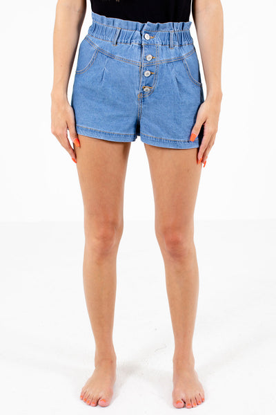 Blue Elastic Waistband Boutique Shorts for Women