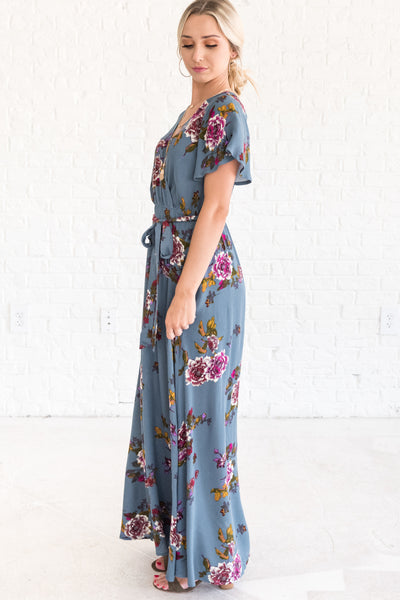 Cyan Teal Blue Floral Long Maxi Dresses for Special Occasions