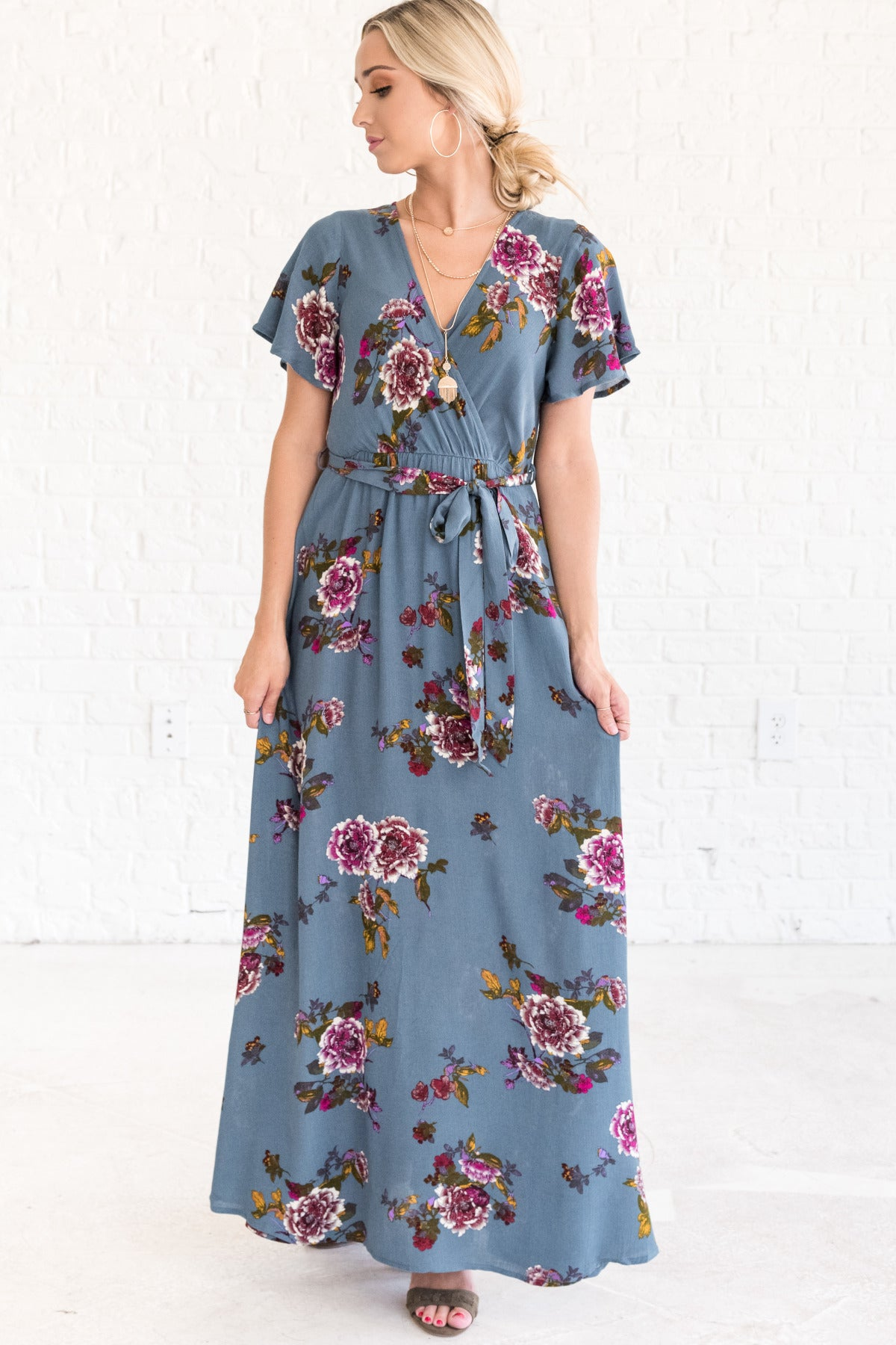 Cyan Blue Boutique Floral Maxi Dresses for Women