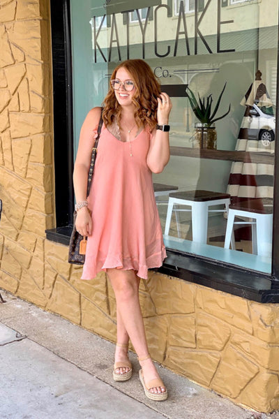 Peachy Pink Ruffle Accents and Hem Boutique Mini Dresses for Women