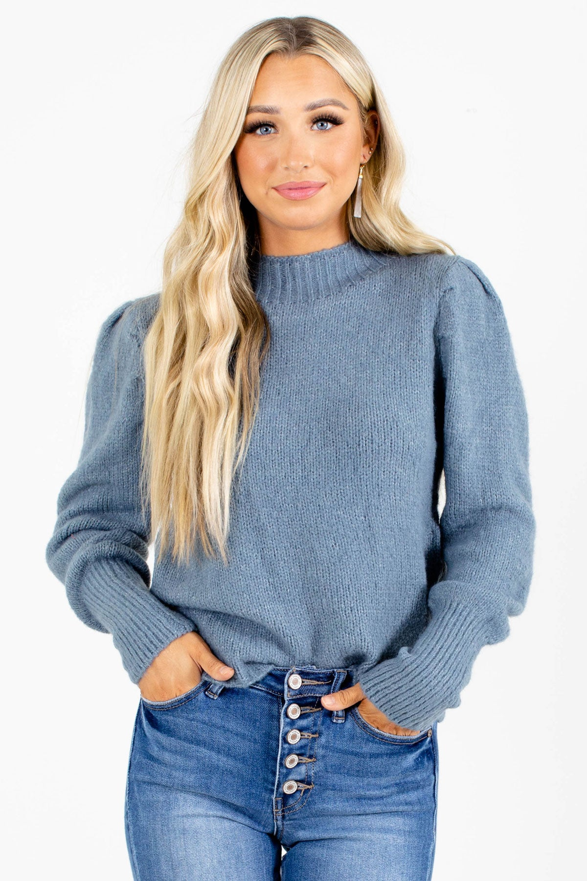 Women's Blue Sweater with Mock Neck