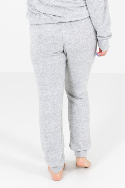 Women's Heather Gray Elastic Cuff Boutique Joggers