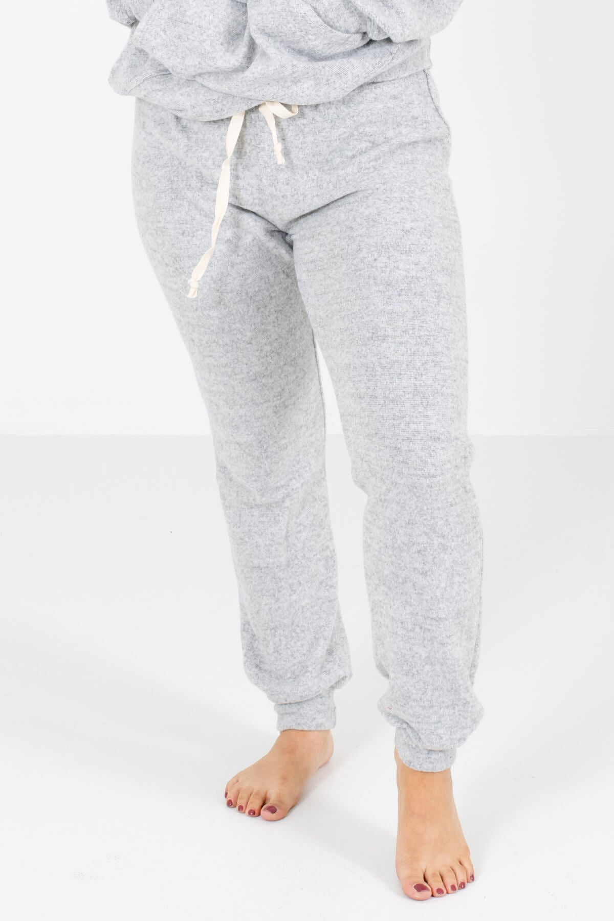 Heather Gray Drawstring Elastic Waistband Boutique Joggers for Women