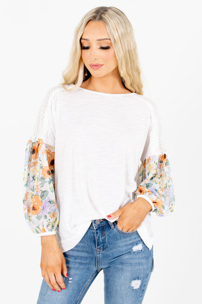 White Bishop Style Sleeve Boutique Blouses for Women