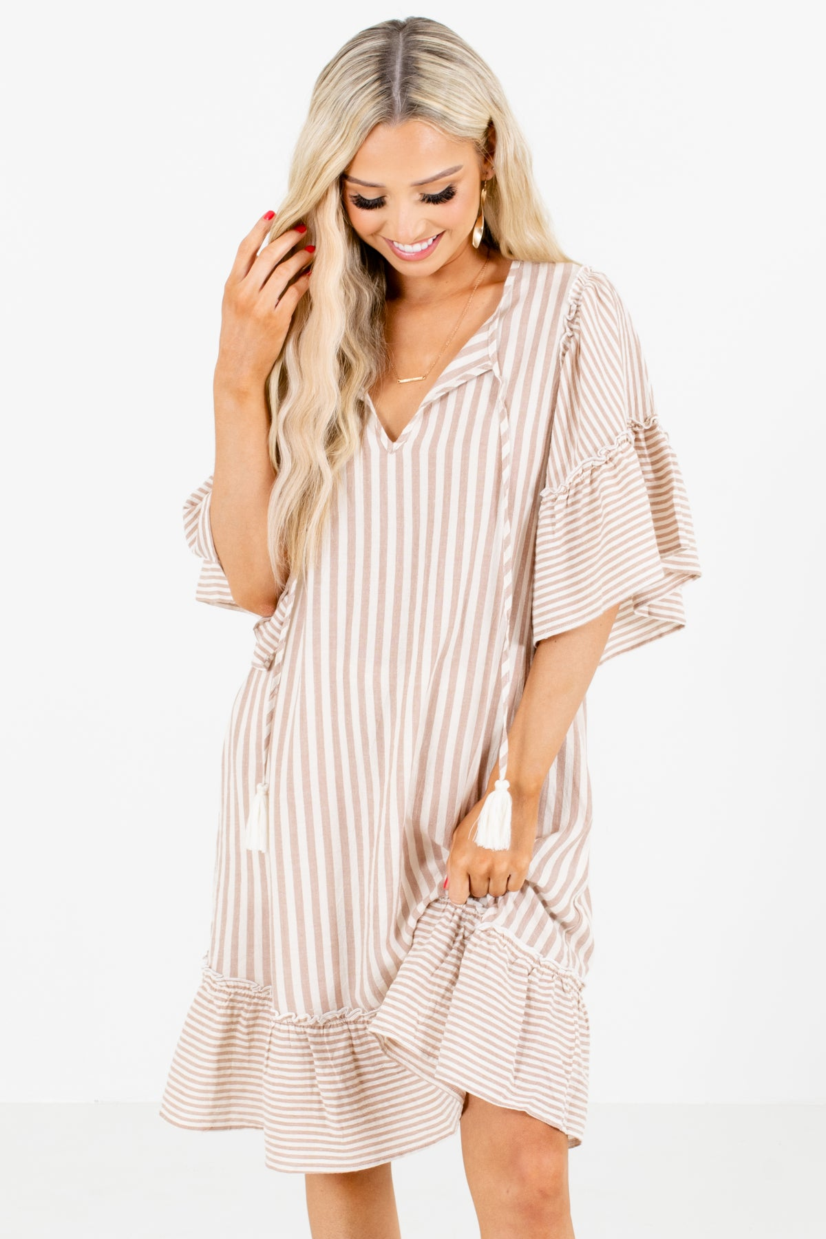 Brown and White Striped Boutique Knee-Length Dresses for Women