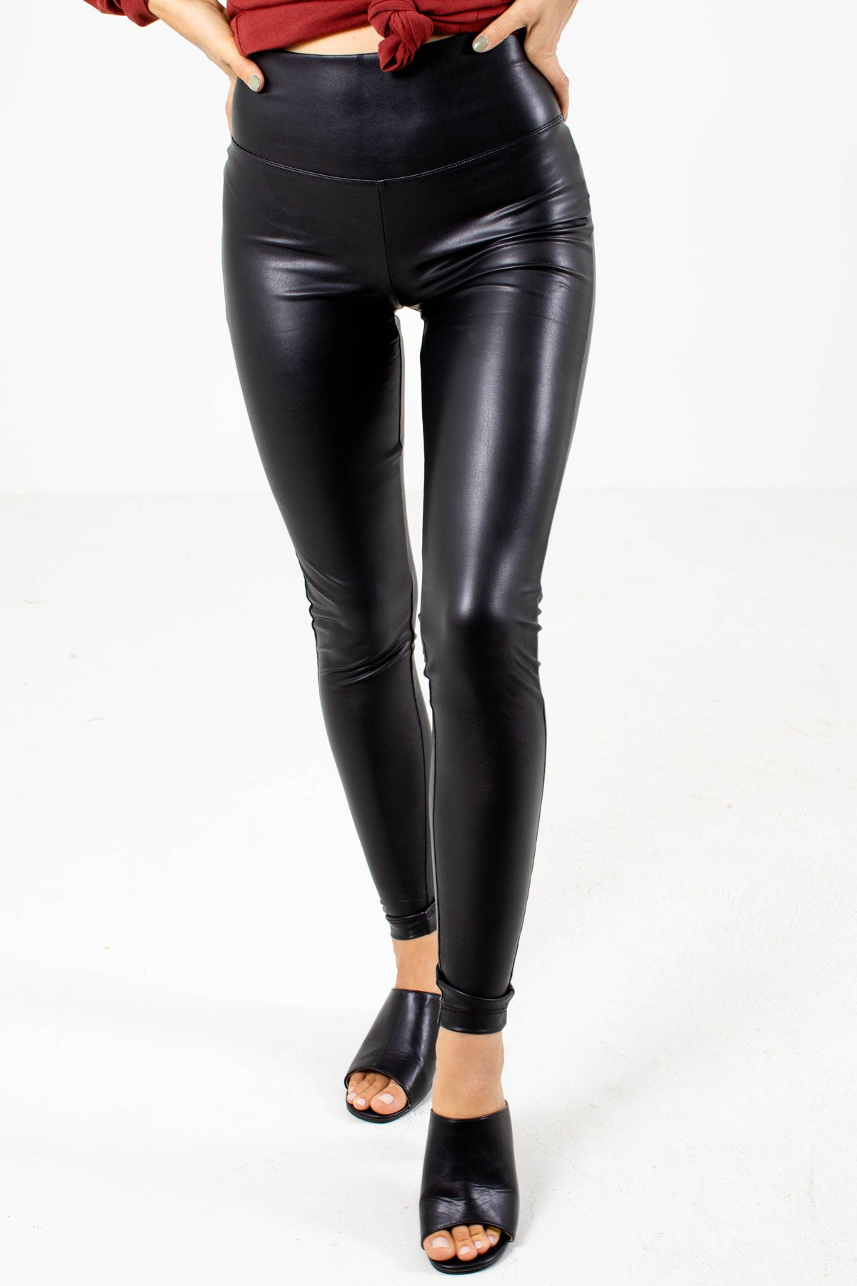 Black Faux Leather Boutique Leggings for Women