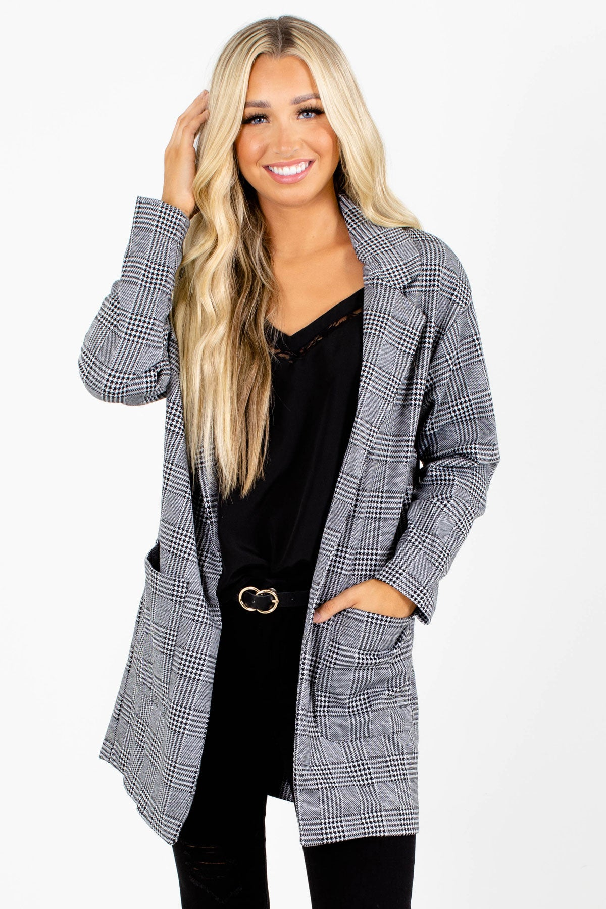 Gray and Black Plaid Patterned Boutique Blazers for Women