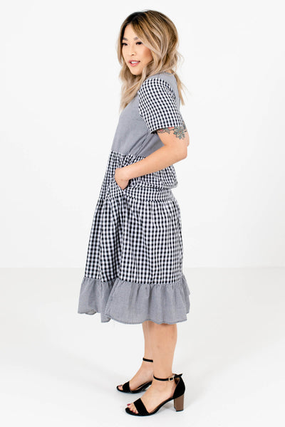 Black Gingham Boutique Knee-Length Dresses with Pockets for Women