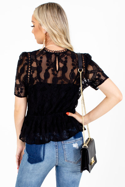 Women's Black Keyhole Back Boutique Blouse