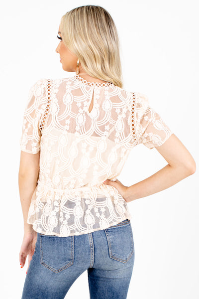 Women's Cream Crochet Accented Boutqiue Blouse
