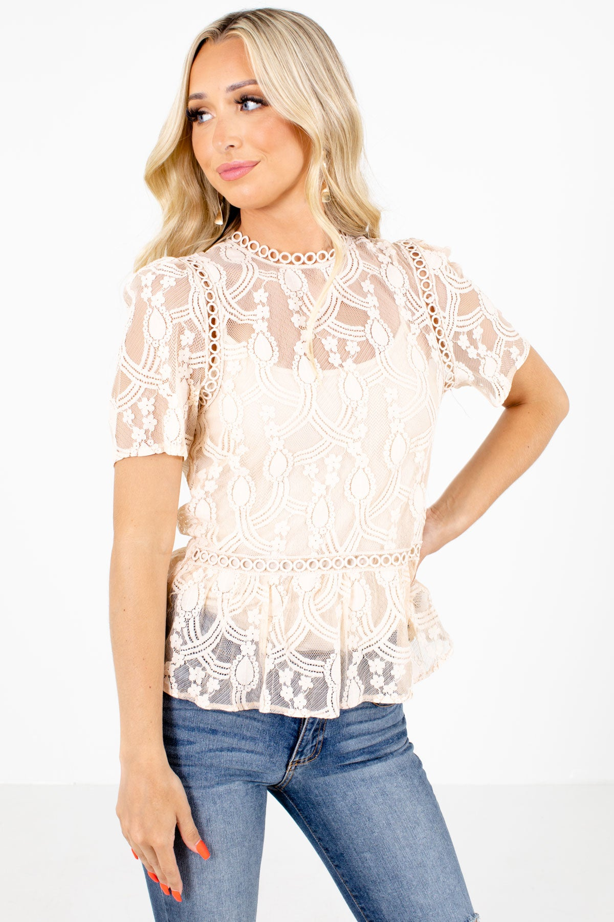 Cream Peplum Style Hem Boutique Blouses for Women