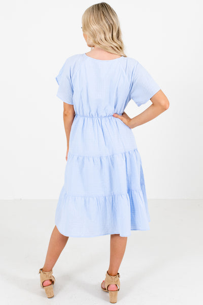 Women's Blue Elastic Waistband Boutique Knee-Length Dress