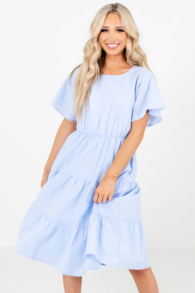 Blue Tiered Ruffled Style Boutique Knee-Length Dresses for Women