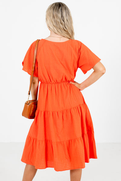 Women's Coral Casual Everyday Boutique Knee-Length Dress