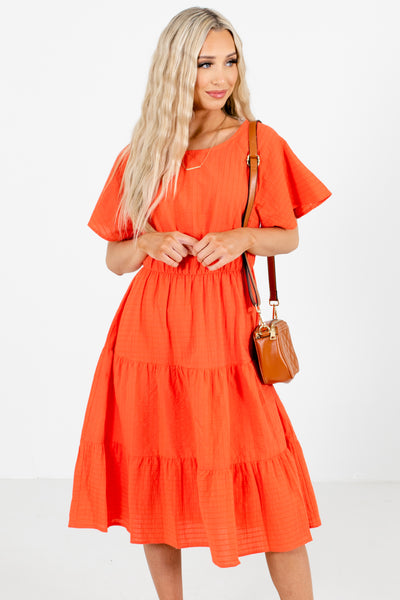 Coral Short Sleeve Boutique Knee-Length Dresses for Women