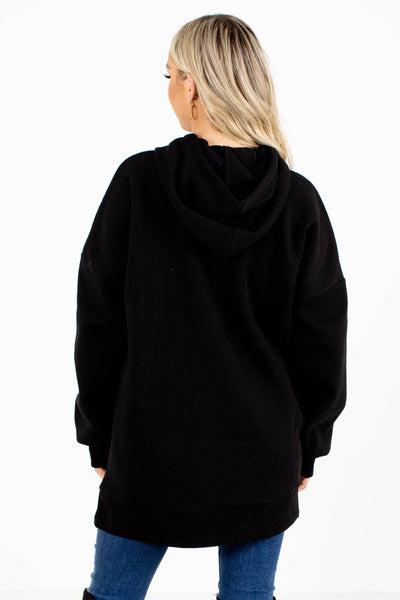 Women's Black Front Pocket Boutique Hoodie