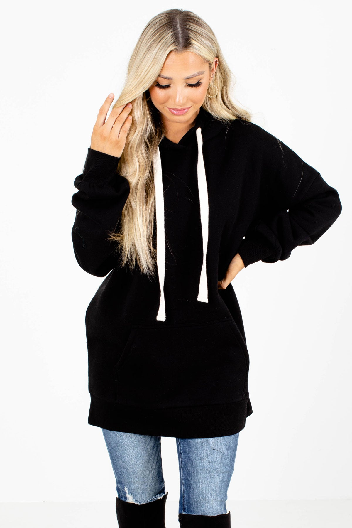 Black Drawstring Hood Boutique Hoodies for Women