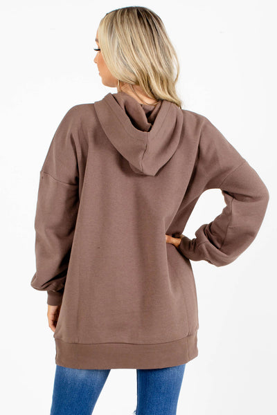 Brown Fleece-Lined Boutique Hoodies for Women
