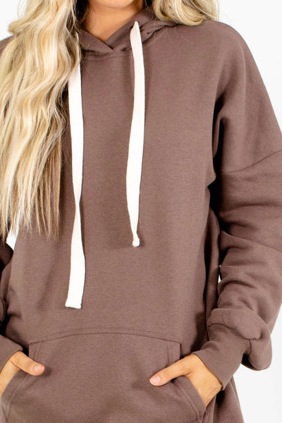 Women's Brown Long Sleeve Boutique Hoodie
