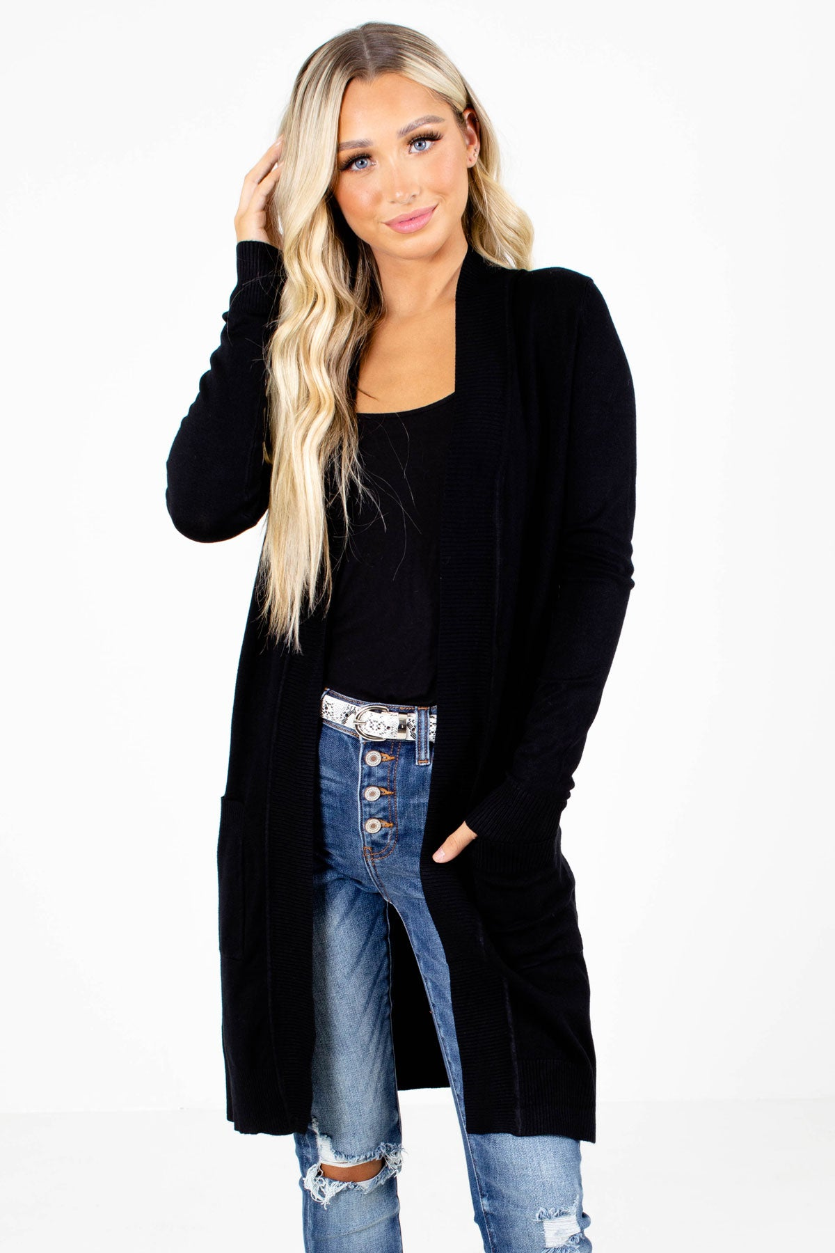 Black Longer Length Boutique Cardigans for Women