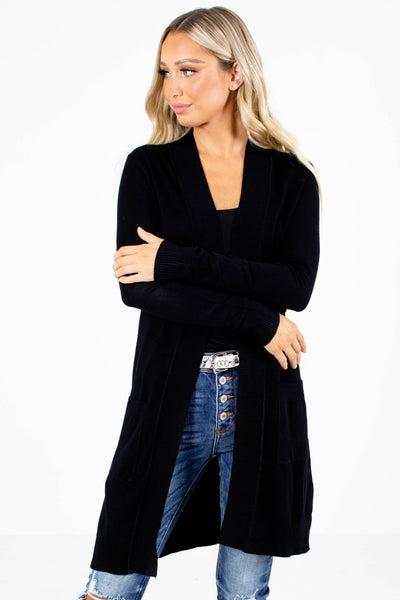 Women's Black Split Hem Boutique Cardigan