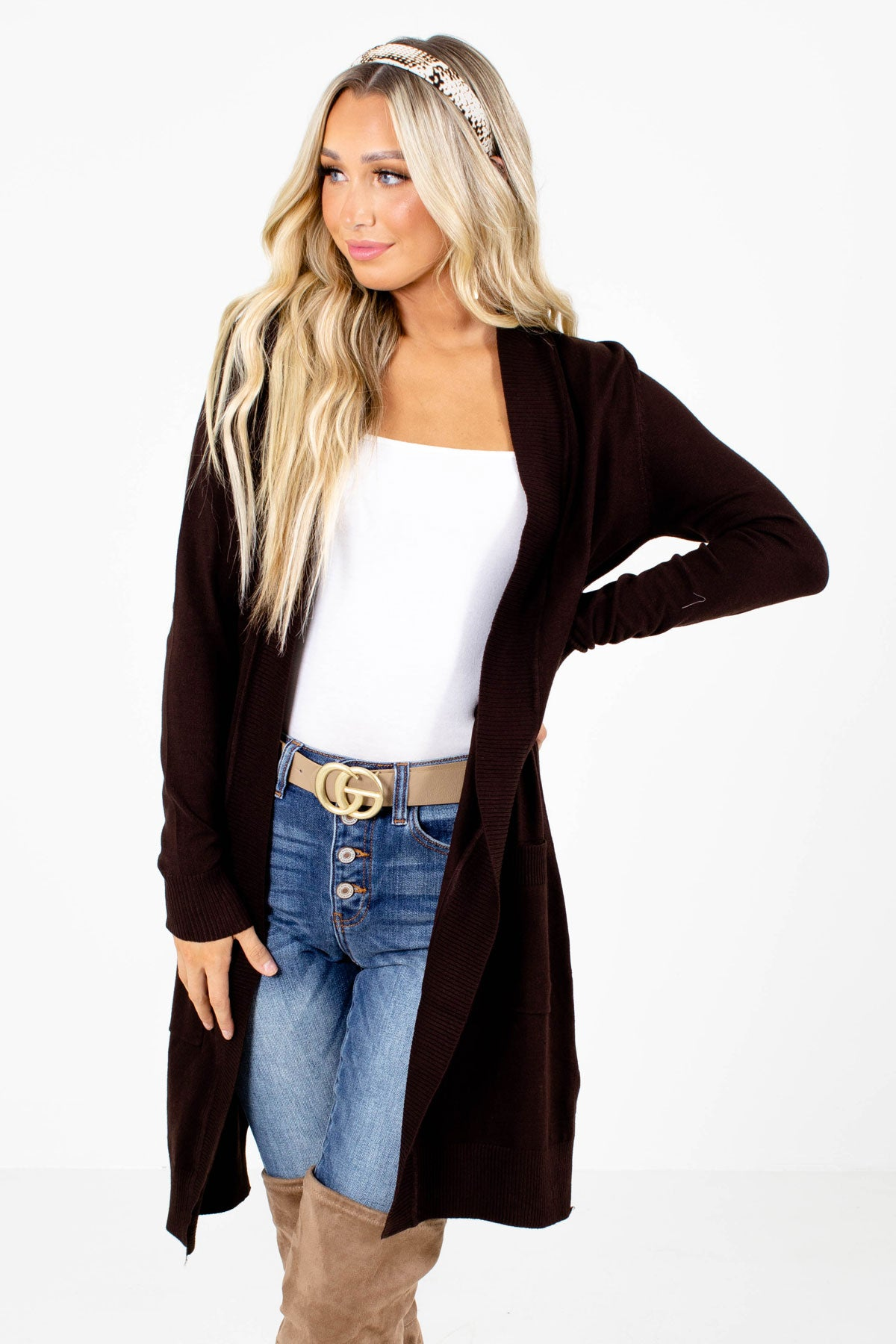 Brown Longer Length Boutique Cardigans for Women