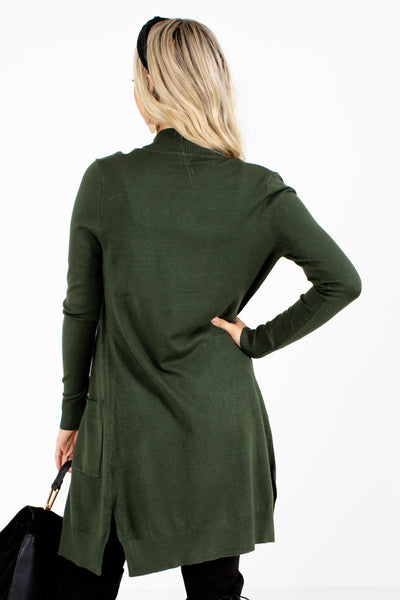 Green Cardigan Sweaters Lightweight Fall with Pockets