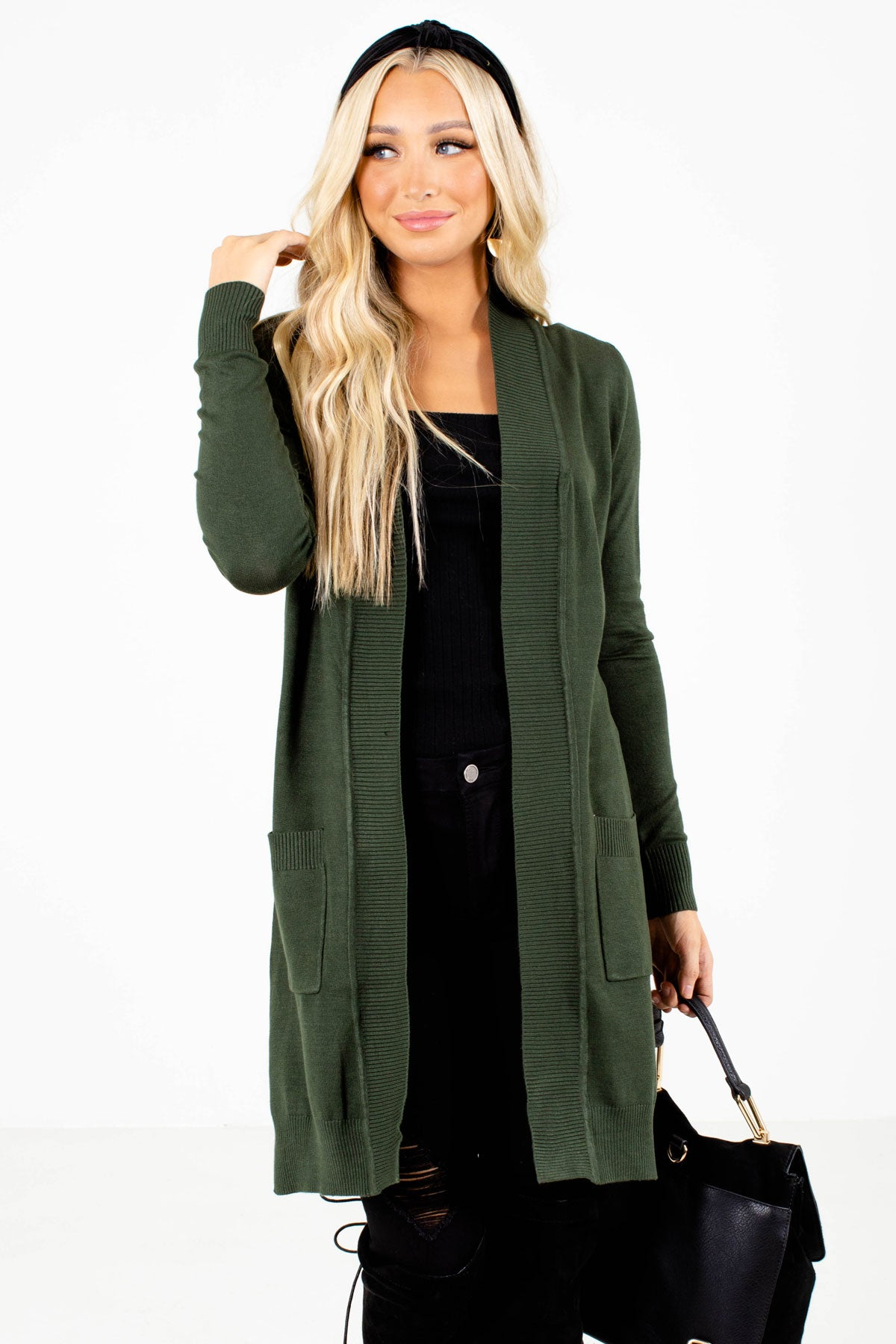 Green Lightweight Cute Fall Green Long Cardigans