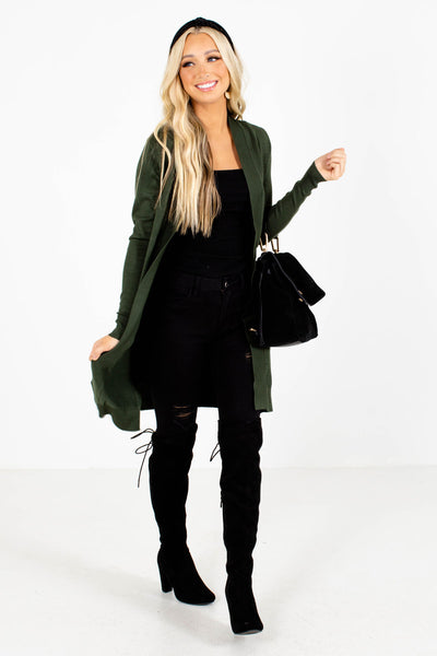 Green Office Long Cardigan Sweaters for Women
