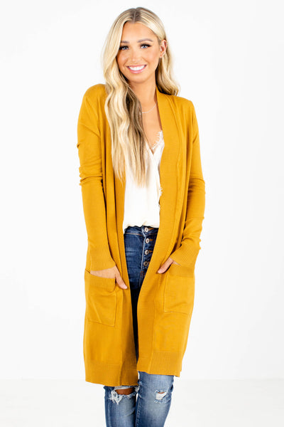 Women's Mustard Yellow High-Quality Material Boutique Cardigan