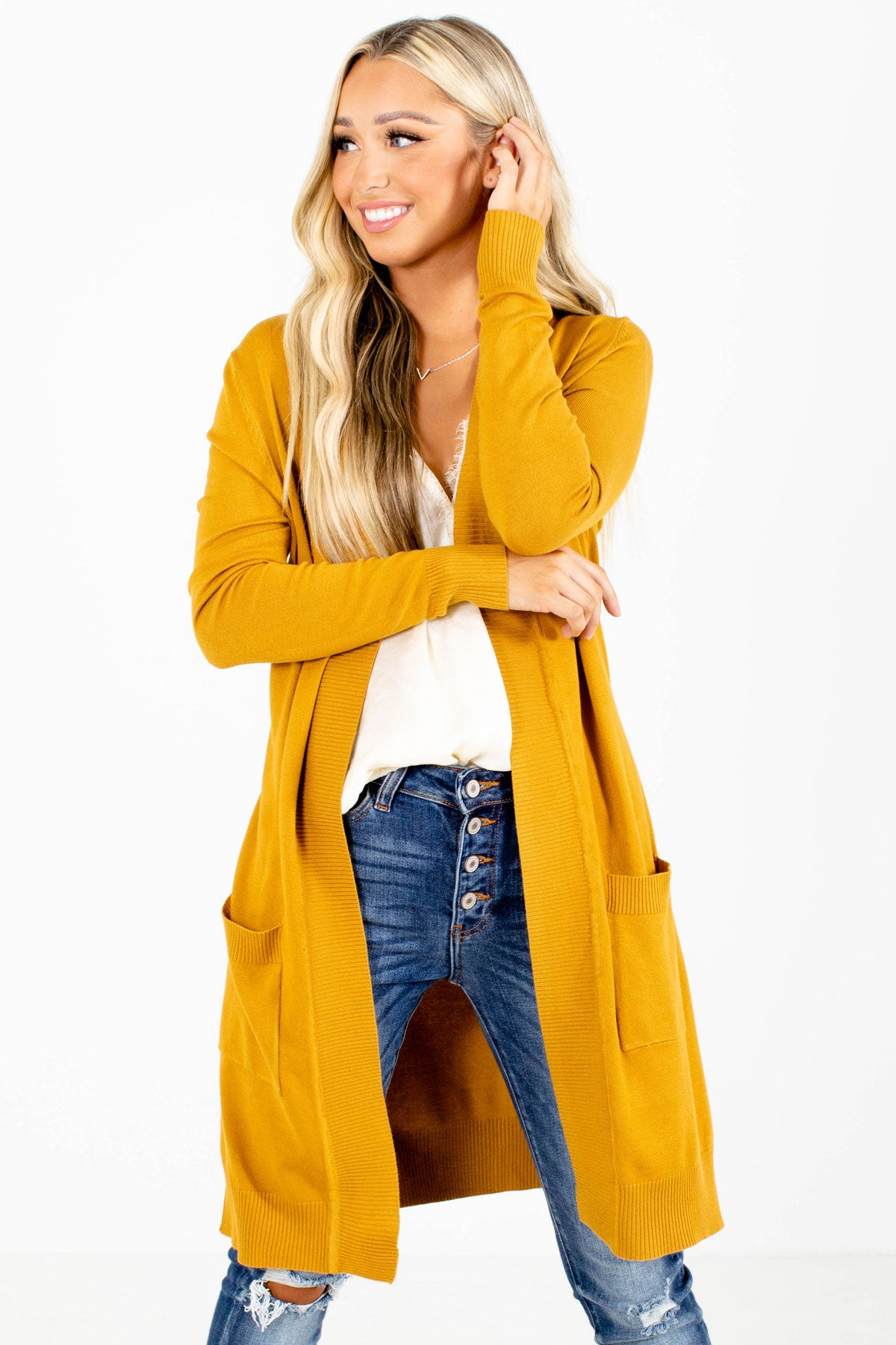 Mustard Yellow Long Length Boutique Cardigans for Women