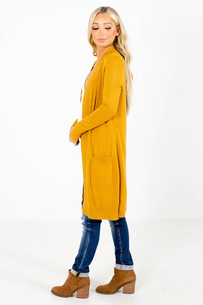 Mustard Yellow Boutique Cardigans with Pockets for Women