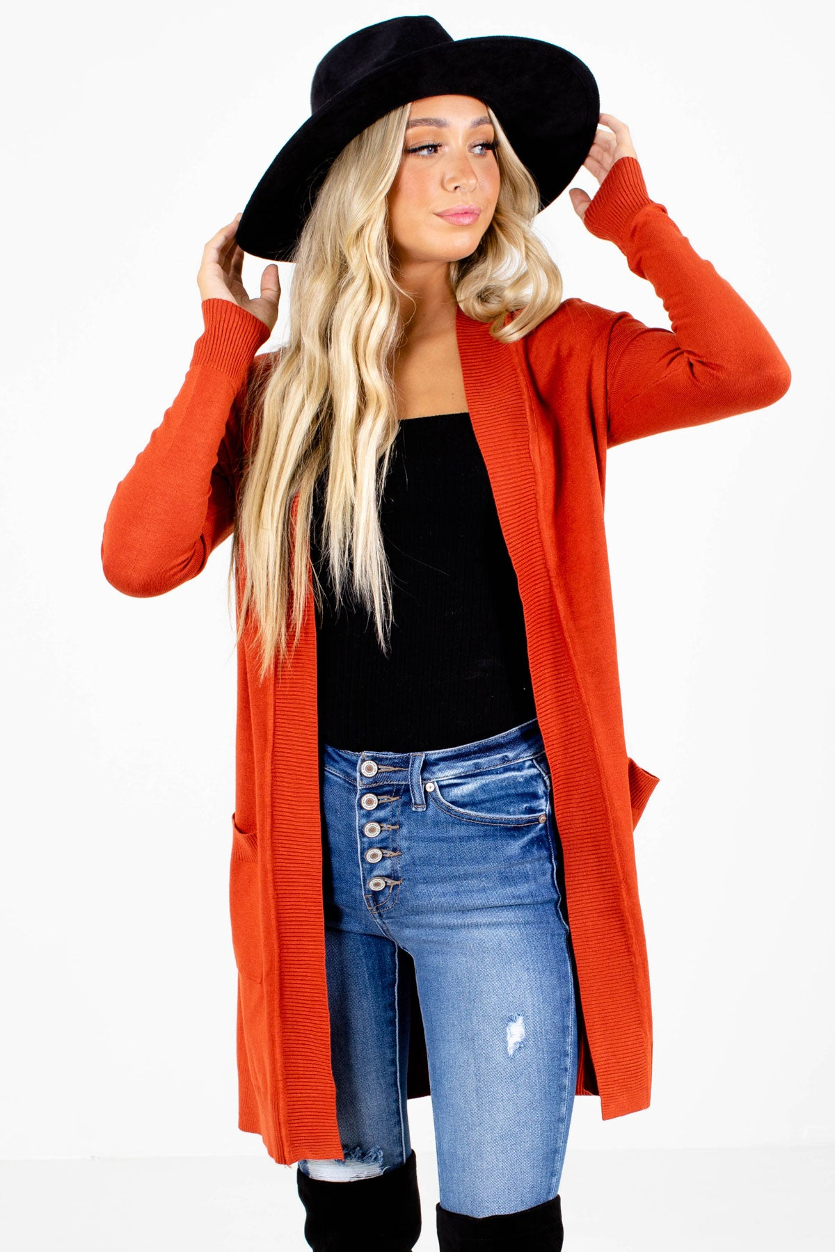 Orange Longer Length Boutique Cardigans for Women
