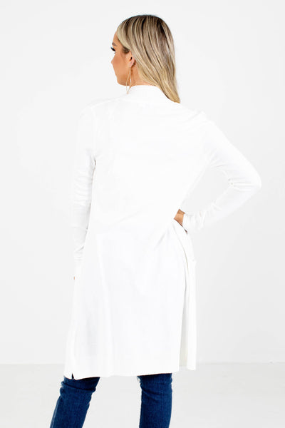 Women's White Long Sleeve Boutique Cardigan