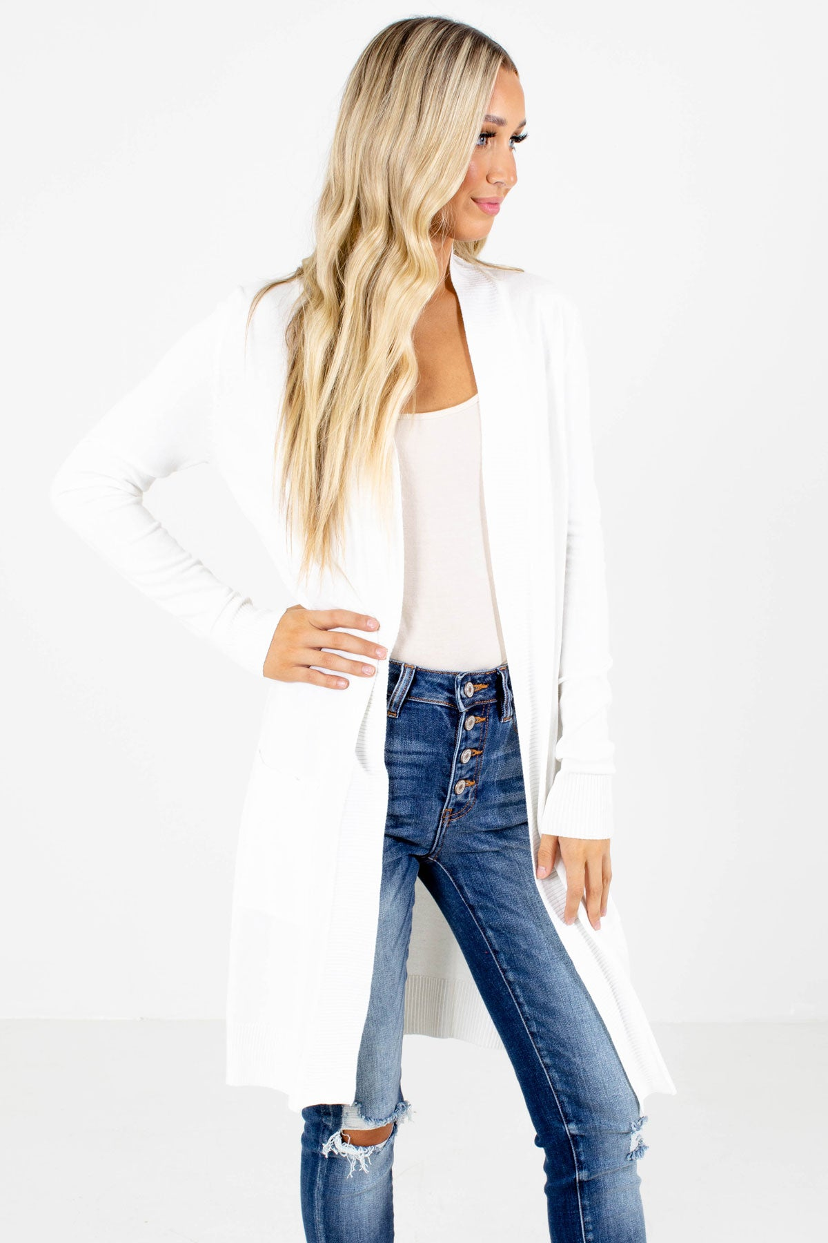 White Longer Length Boutique Cardigans for Women