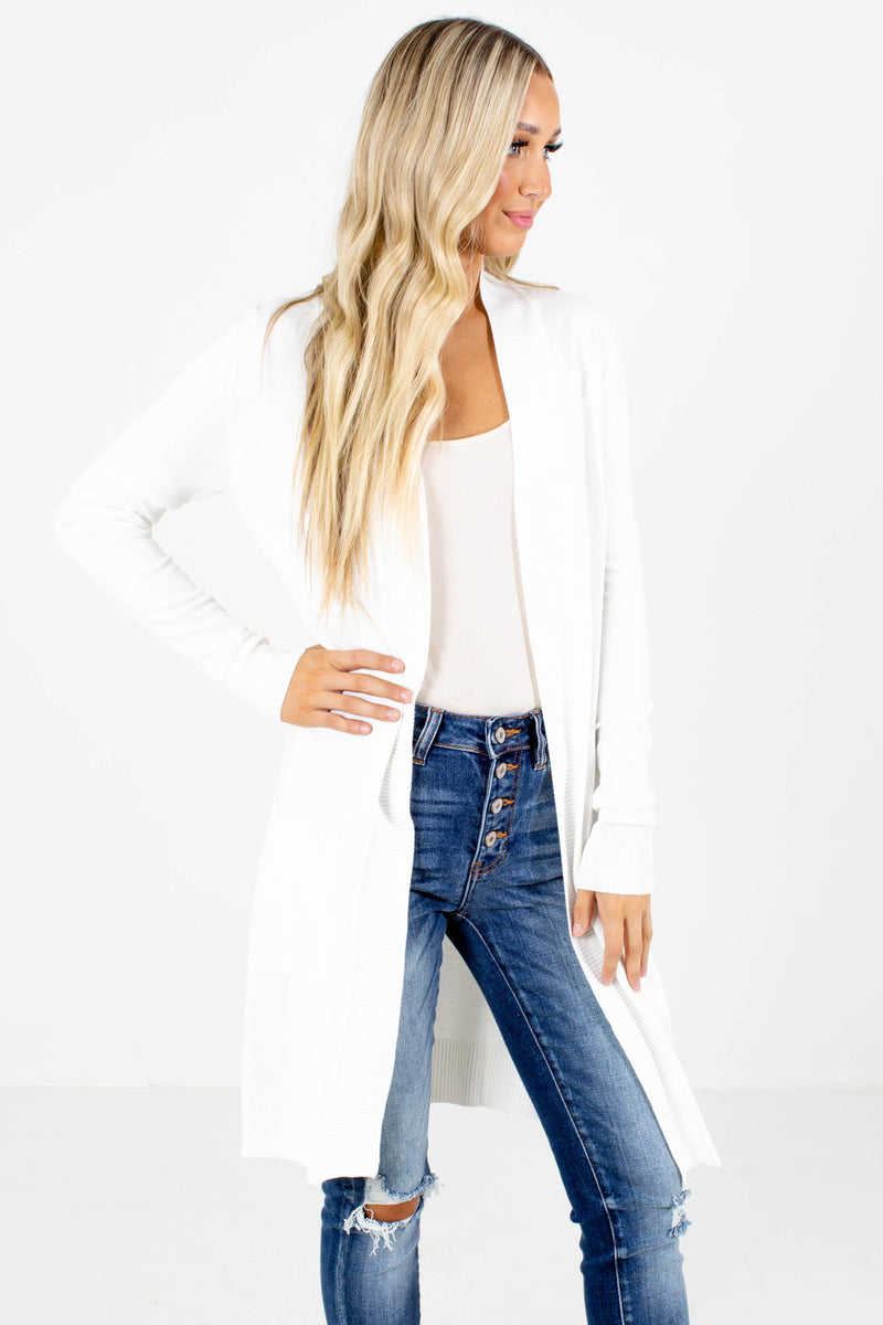 Change of Heart White Long Cardigan