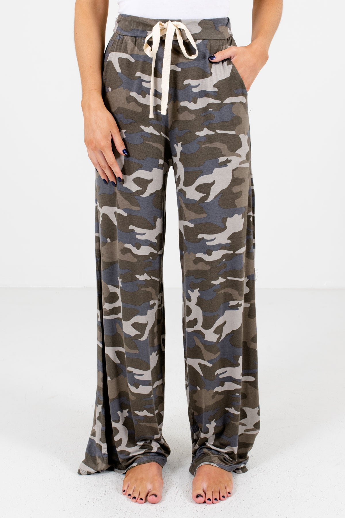 Green Camouflage Print Boutique Pants for Women