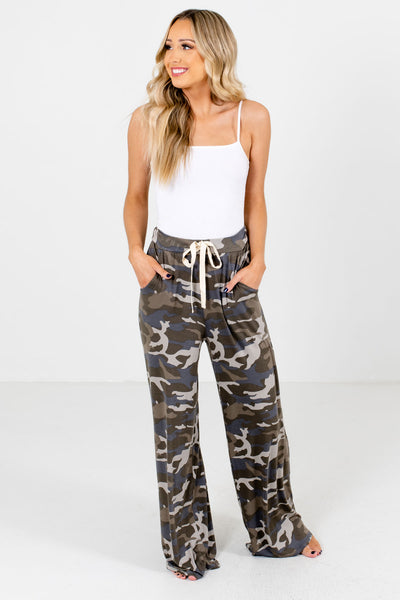 Women's Green Casual Everyday Boutique Camo Pants