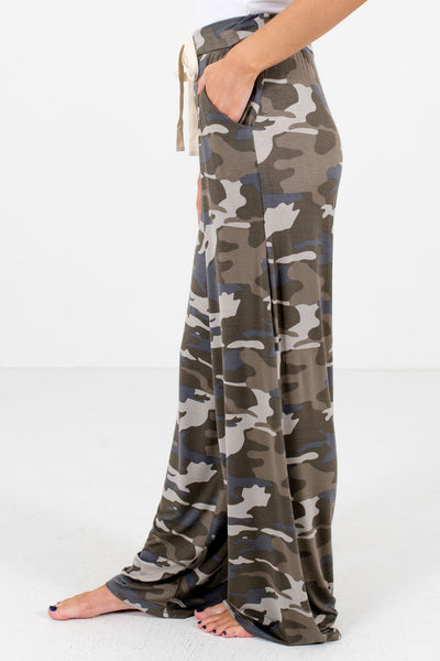 Green Flowy Silhouette Boutique Camouflage Pants for Women