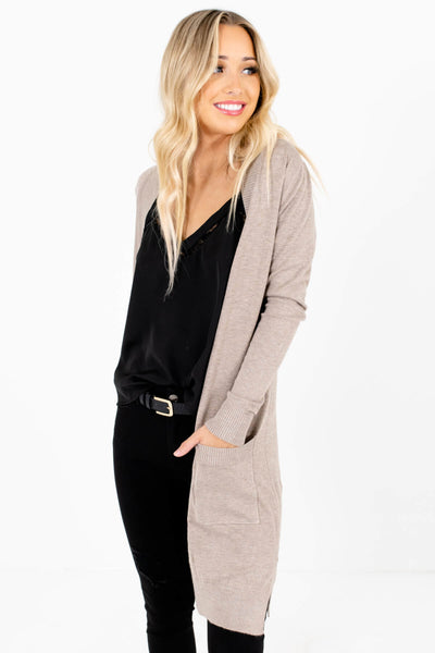 Beige Brown Cute and Comfortable Boutique Cardigans for Women