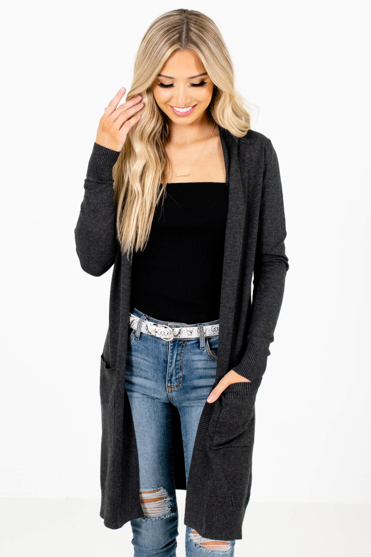 Charcoal Gray Long Length Boutique Cardigans for Women